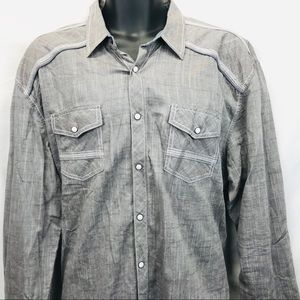 BKE Athletic Fit Button Up Pearl Snap Shirt